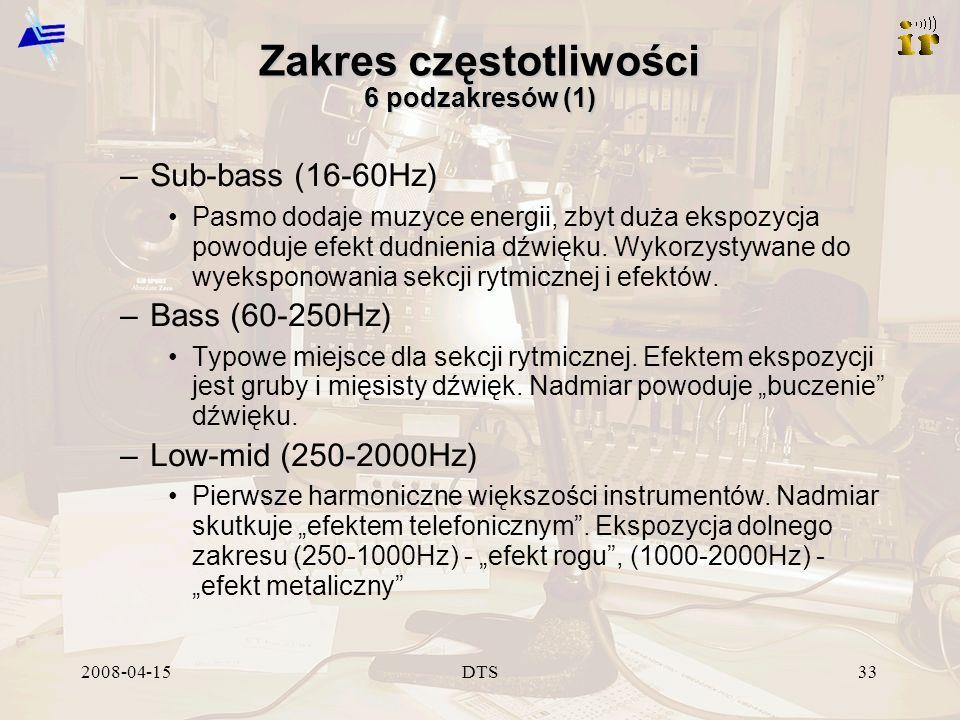 2008-04-15DTS33 Zakres częstotliwości 6 podzakresów (1) –Sub-bass (16-60Hz) Pasmo dodaje muzyce energii, zbyt duża ekspozycja powoduje efekt dudnienia dźwięku.