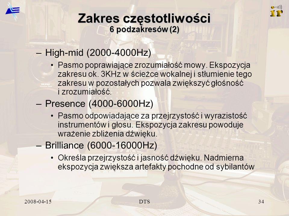 2008-04-15DTS34 Zakres częstotliwości 6 podzakresów (2) –High-mid (2000-4000Hz) Pasmo poprawiające zrozumiałość mowy. Ekspozycja zakresu ok. 3KHz w śc