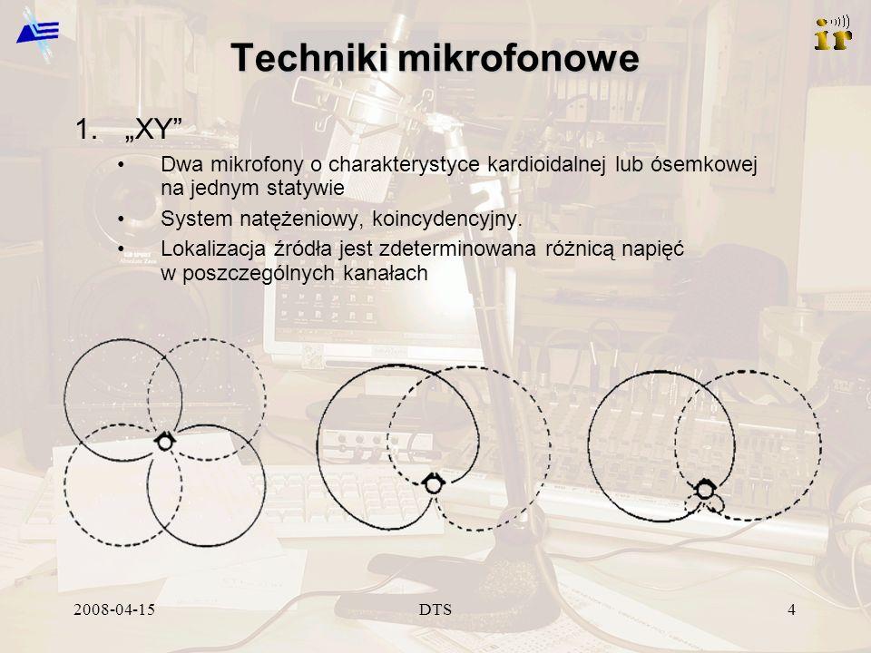 2008-04-15DTS4 Techniki mikrofonowe 1.XY Dwa mikrofony o charakterystyce kardioidalnej lub ósemkowej na jednym statywie System natężeniowy, koincydencyjny.