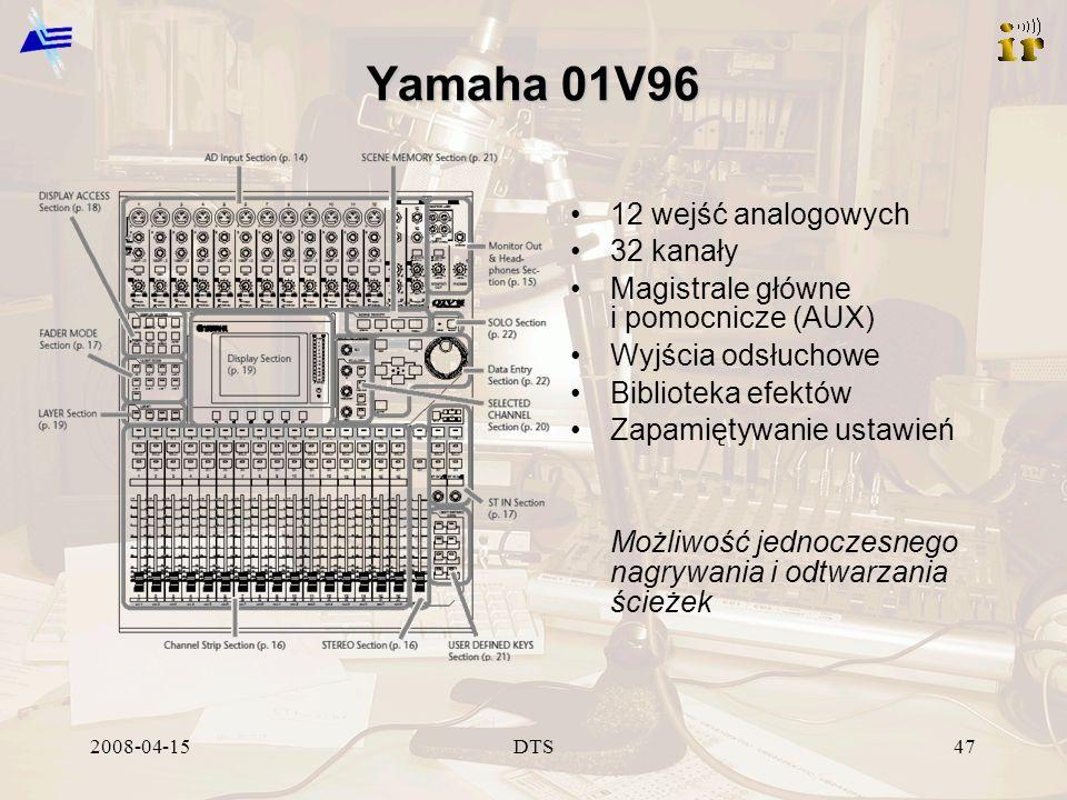 2008-04-15DTS47 Yamaha 01V96 12 wejść analogowych 32 kanały Magistrale główne i pomocnicze (AUX) Wyjścia odsłuchowe Biblioteka efektów Zapamiętywanie