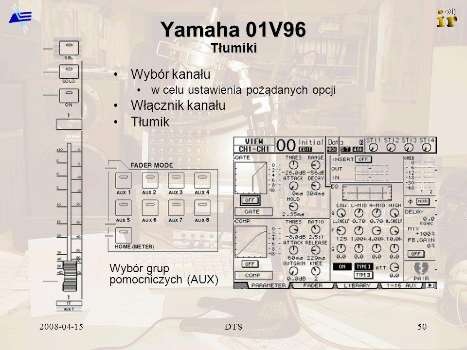 2008-04-15DTS50 Yamaha 01V96 Tłumiki Wybór kanału w celu ustawienia pożądanych opcji Włącznik kanału Tłumik Wybór grup pomocniczych (AUX)