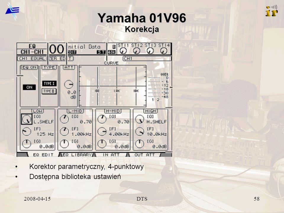 2008-04-15DTS58 Yamaha 01V96 Korekcja Korektor parametryczny, 4-punktowy Dostępna biblioteka ustawień