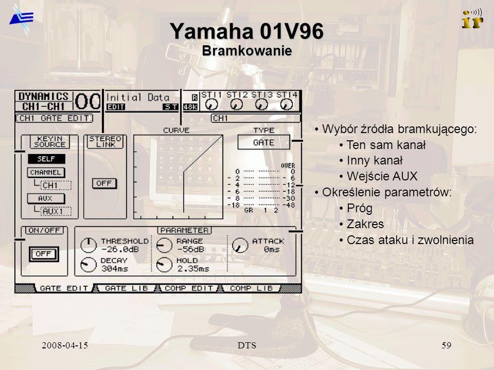 2008-04-15DTS59 Yamaha 01V96 Bramkowanie Wybór źródła bramkującego: Ten sam kanał Inny kanał Wejście AUX Określenie parametrów: Próg Zakres Czas ataku i zwolnienia