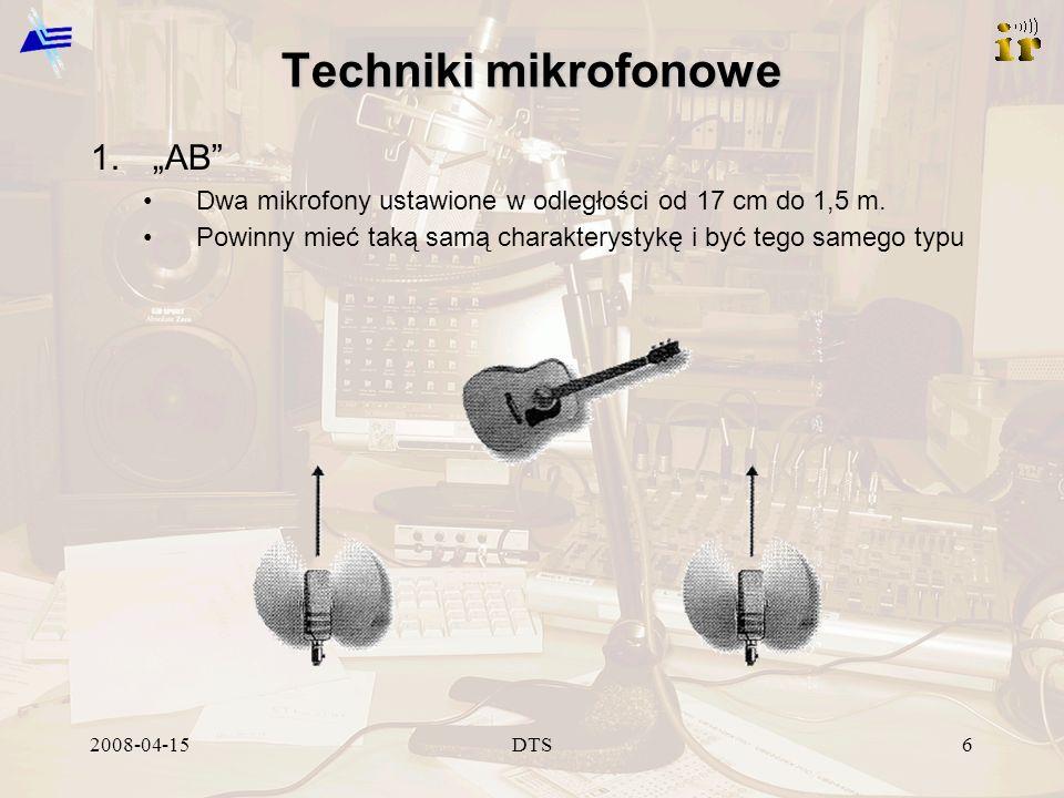 2008-04-15DTS7 Ustawienia mikrofonów Lektor, wokalista –Oś mikrofonu pomiędzy nosem a ustami –Odchylenie od osi redukuje podmuchy od głosek plozyjnych Gitara akustyczna –Mikrofon poniżej lub powyżej otworu w pudle rezonansowym w okolicach mostka w odległości od 15 cm do 0,5 m.