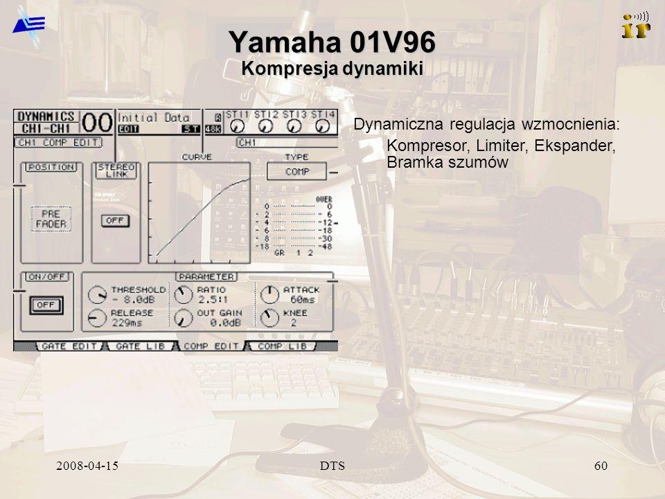 2008-04-15DTS60 Yamaha 01V96 Kompresja dynamiki Dynamiczna regulacja wzmocnienia: Kompresor, Limiter, Ekspander, Bramka szumów