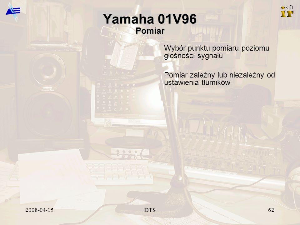 2008-04-15DTS62 Yamaha 01V96 Pomiar Wybór punktu pomiaru poziomu głośności sygnału Pomiar zależny lub niezależny od ustawienia tłumików