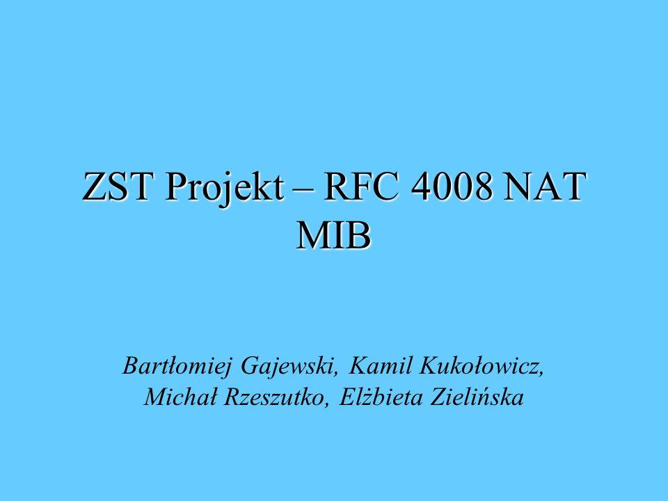 ZST Projekt – RFC 4008 NAT MIB Bartłomiej Gajewski, Kamil Kukołowicz, Michał Rzeszutko, Elżbieta Zielińska