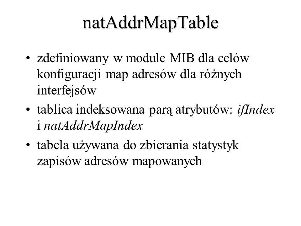 natAddrMapTable zdefiniowany w module MIB dla celów konfiguracji map adresów dla różnych interfejsów tablica indeksowana parą atrybutów: ifIndex i nat