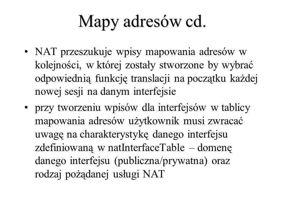 Mapy adresów cd. NAT przeszukuje wpisy mapowania adresów w kolejności, w której zostały stworzone by wybrać odpowiednią funkcję translacji na początku