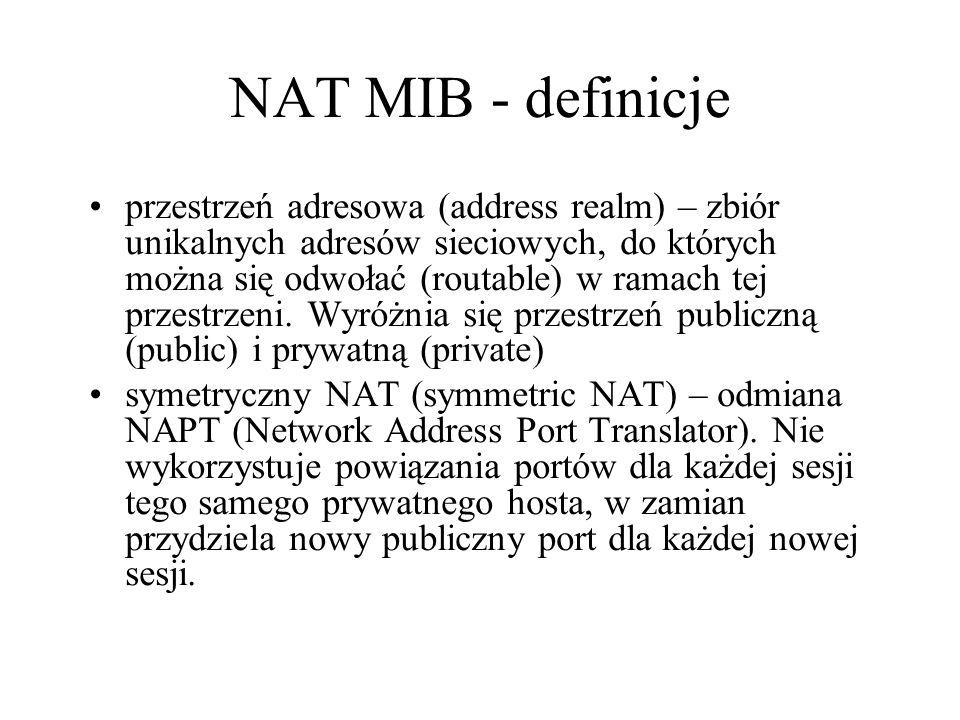 NAT MIB - definicje przestrzeń adresowa (address realm) – zbiór unikalnych adresów sieciowych, do których można się odwołać (routable) w ramach tej pr