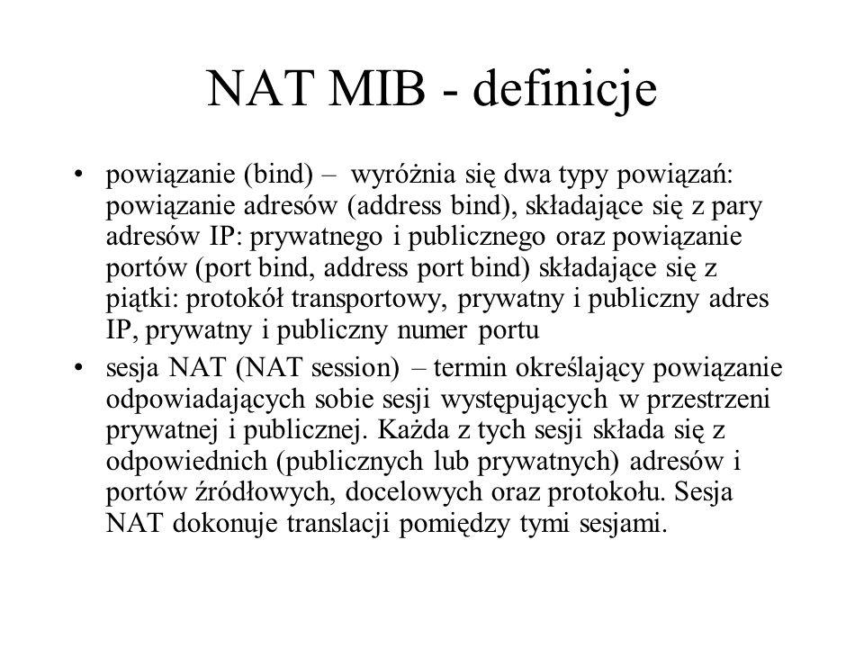 NAT MIB - definicje powiązanie (bind) – wyróżnia się dwa typy powiązań: powiązanie adresów (address bind), składające się z pary adresów IP: prywatneg