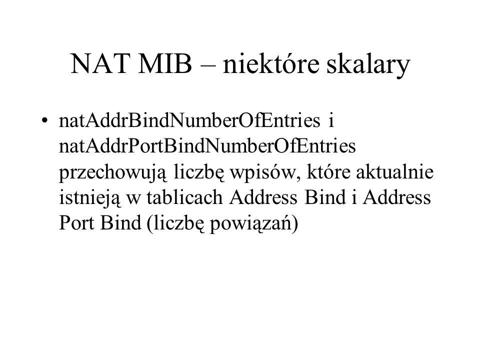 NAT MIB – niektóre skalary natAddrBindNumberOfEntries i natAddrPortBindNumberOfEntries przechowują liczbę wpisów, które aktualnie istnieją w tablicach