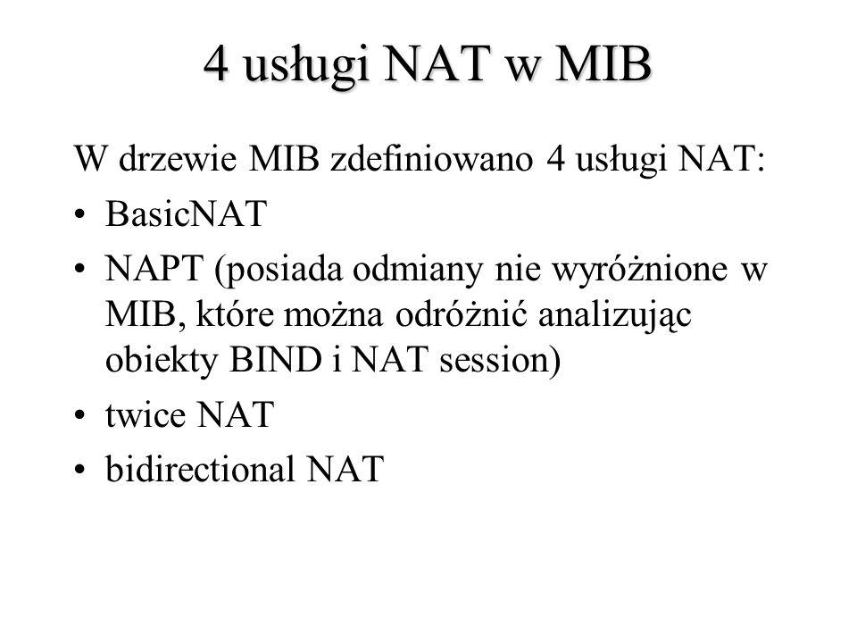 4 usługi NAT w MIB W drzewie MIB zdefiniowano 4 usługi NAT: BasicNAT NAPT (posiada odmiany nie wyróżnione w MIB, które można odróżnić analizując obiek