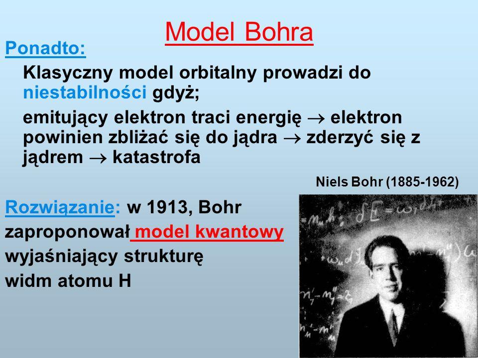 Model Bohra Ponadto: Klasyczny model orbitalny prowadzi do niestabilności gdyż; emitujący elektron traci energię elektron powinien zbliżać się do jądra zderzyć się z jądrem katastrofa Rozwiązanie: w 1913, Bohr zaproponował model kwantowy wyjaśniający strukturę widm atomu H Niels Bohr (1885-1962)