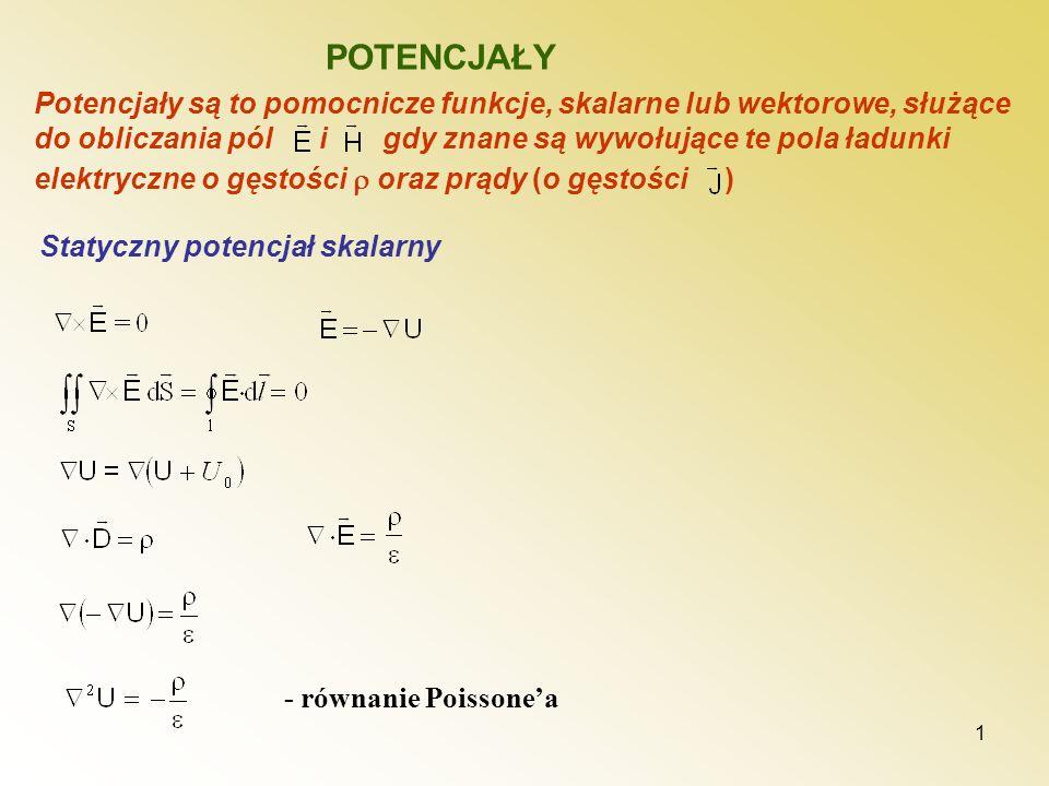 1 POTENCJAŁY Statyczny potencjał skalarny Potencjały są to pomocnicze funkcje, skalarne lub wektorowe, służące do obliczania pól i gdy znane są wywołu