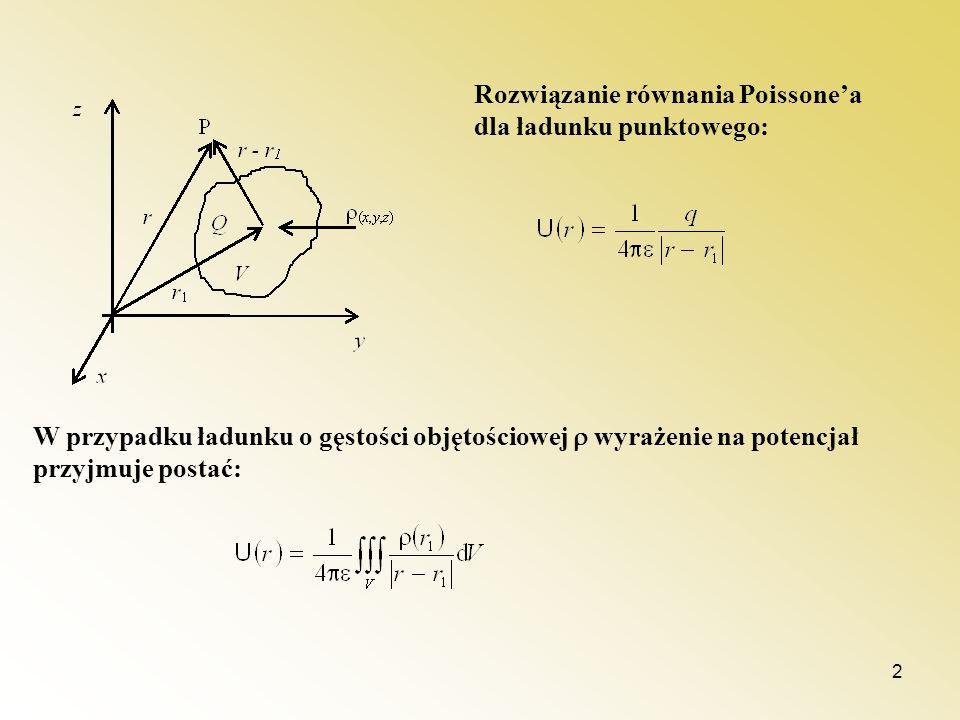 2 Rozwiązanie równania Poissonea dla ładunku punktowego: W przypadku ładunku o gęstości objętościowej wyrażenie na potencjał przyjmuje postać: