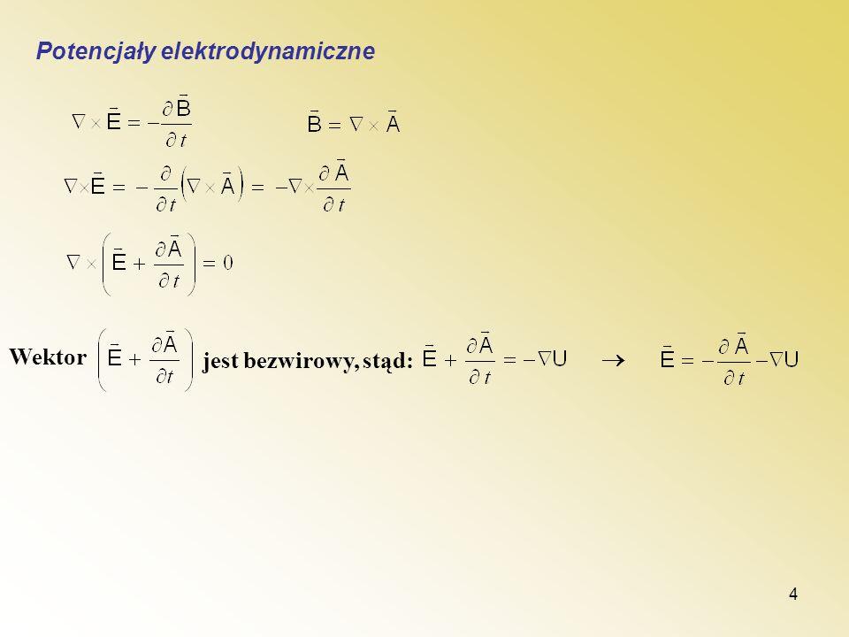4 Potencjały elektrodynamiczne Wektor jest bezwirowy, stąd: