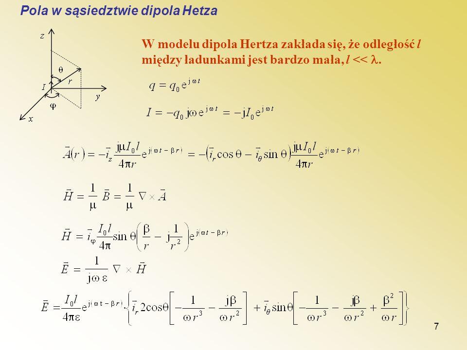 7 Pola w sąsiedztwie dipola Hetza W modelu dipola Hertza zakłada się, że odległość l między ładunkami jest bardzo mała, l <<.