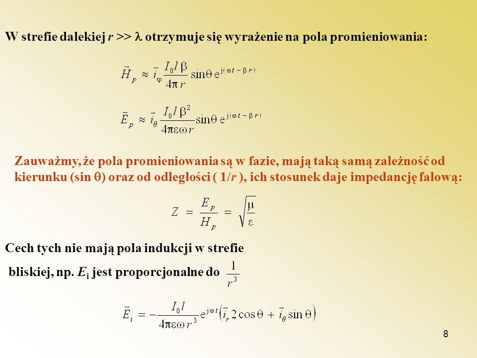 8 W strefie dalekiej r >> otrzymuje się wyrażenie na pola promieniowania: Zauważmy, że pola promieniowania są w fazie, mają taką samą zależność od kie