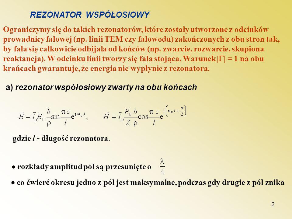 3 Rozkład pola w rezonatorze współosiowym dla najniższej częstotliwości rezonansowej l Przestrajanie rezonatora współosiowego b) rezonator współosiowy rozwarty na jednym końcu c) zakończony skupioną pojemnością o znanej wartości C.