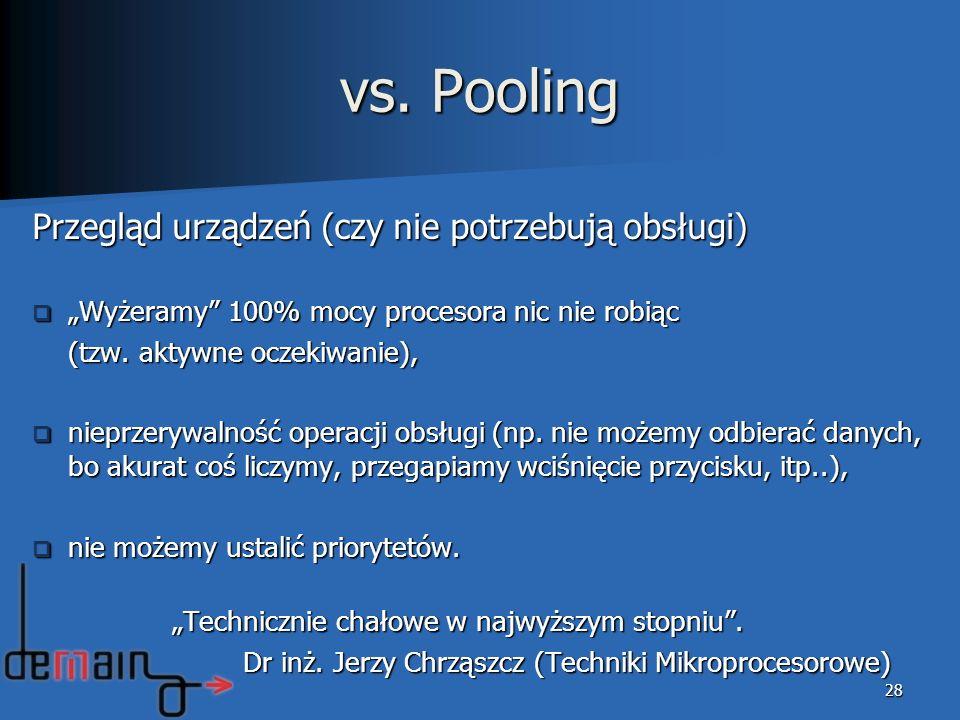 vs. Pooling Przegląd urządzeń (czy nie potrzebują obsługi) Wyżeramy 100% mocy procesora nic nie robiąc Wyżeramy 100% mocy procesora nic nie robiąc (tz