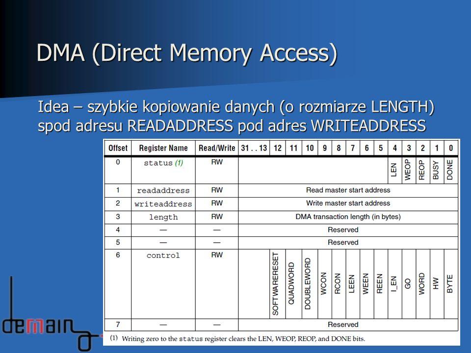 38 DMA (Direct Memory Access) Idea – szybkie kopiowanie danych (o rozmiarze LENGTH) spod adresu READADDRESS pod adres WRITEADDRESS