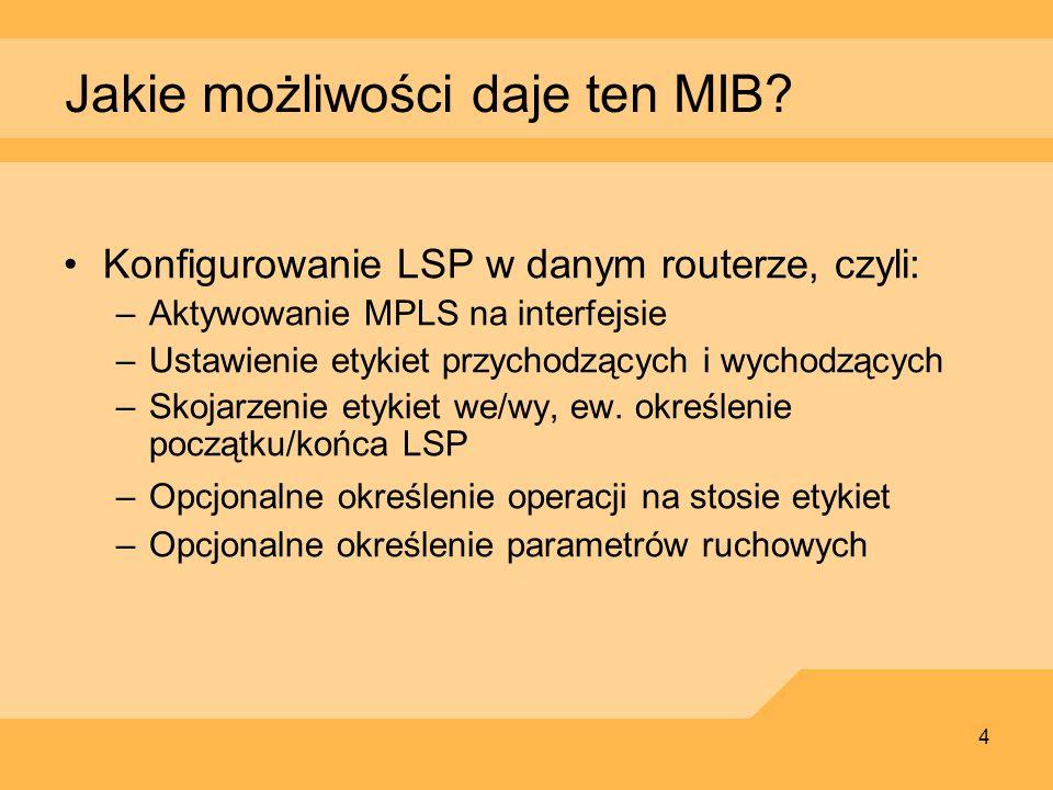 4 Jakie możliwości daje ten MIB? Konfigurowanie LSP w danym routerze, czyli: –Aktywowanie MPLS na interfejsie –Ustawienie etykiet przychodzących i wyc