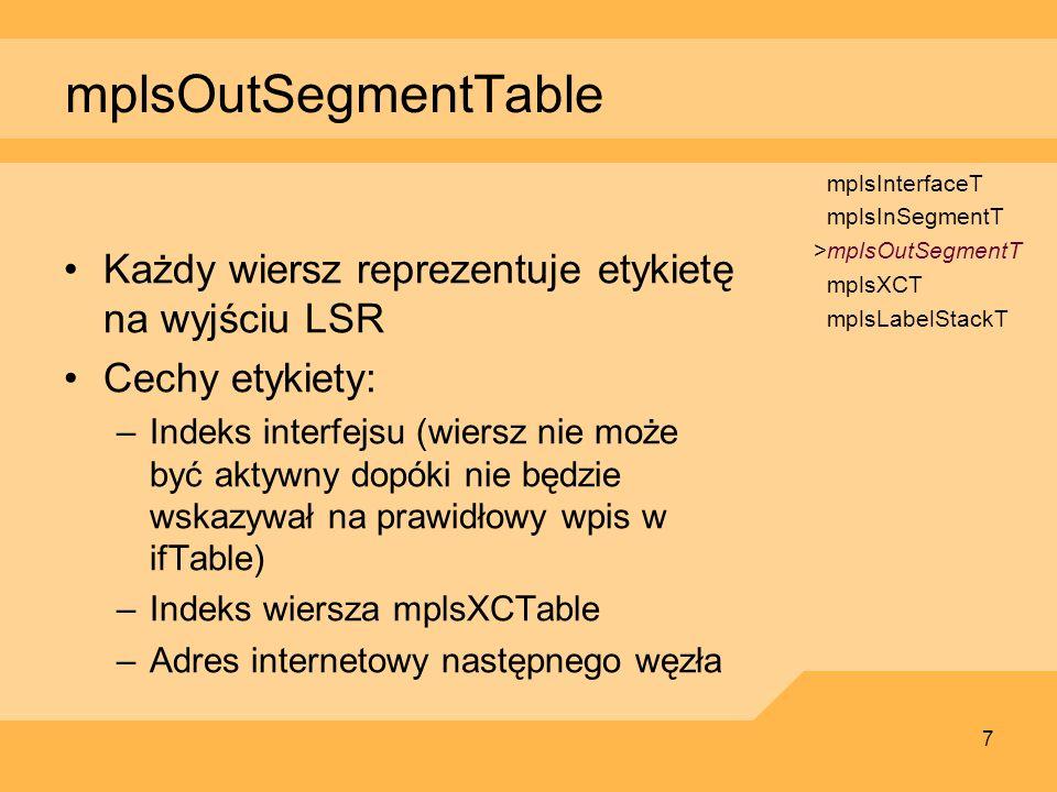7 mplsOutSegmentTable Każdy wiersz reprezentuje etykietę na wyjściu LSR Cechy etykiety: –Indeks interfejsu (wiersz nie może być aktywny dopóki nie będ
