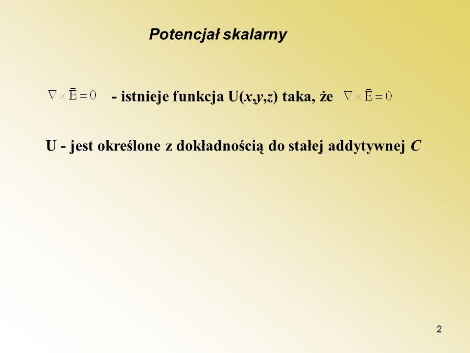 2 Potencjał skalarny - istnieje funkcja U(x,y,z) taka, że U - jest określone z dokładnością do stałej addytywnej C