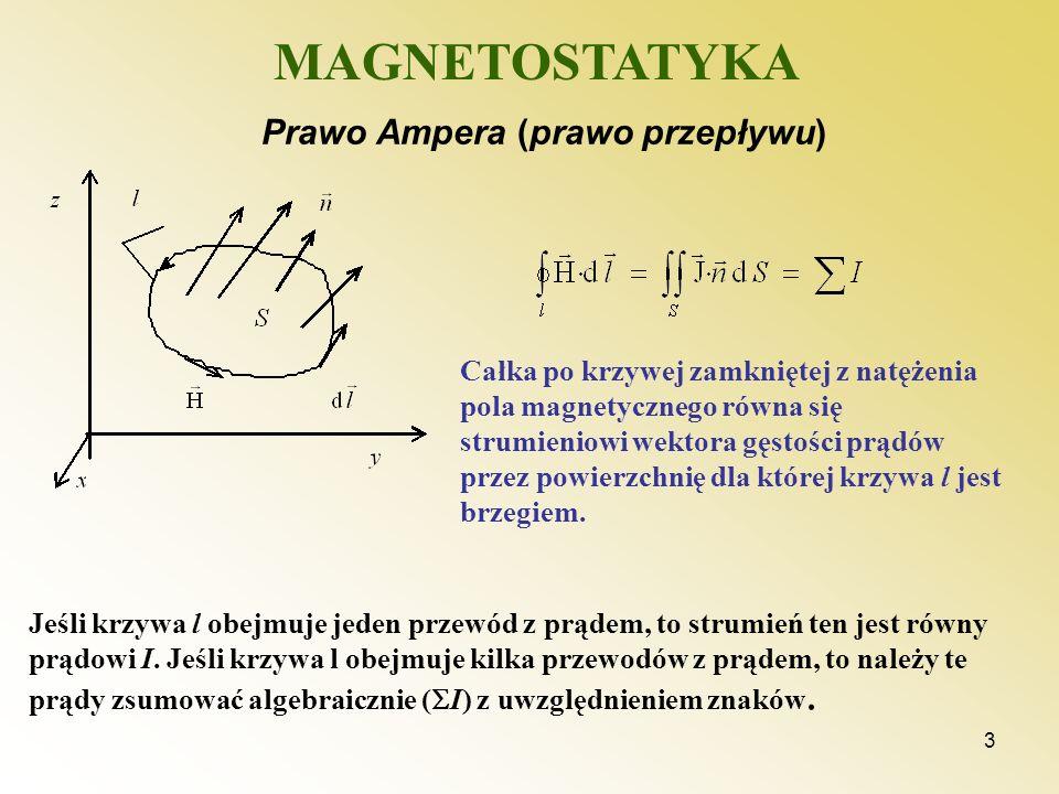 3 MAGNETOSTATYKA Prawo Ampera (prawo przepływu) Jeśli krzywa l obejmuje jeden przewód z prądem, to strumień ten jest równy prądowi I. Jeśli krzywa l o