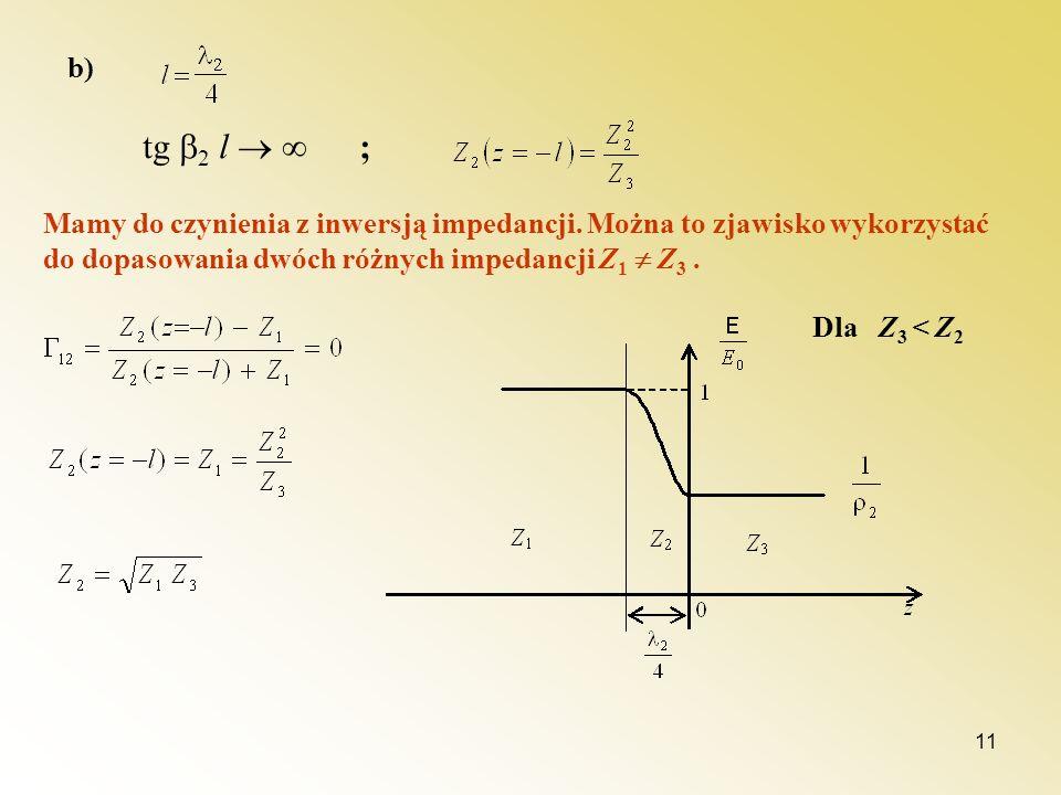 11 b) tg 2 l ; Mamy do czynienia z inwersją impedancji. Można to zjawisko wykorzystać do dopasowania dwóch różnych impedancji Z 1 Z 3. Dla Z 3 < Z 2