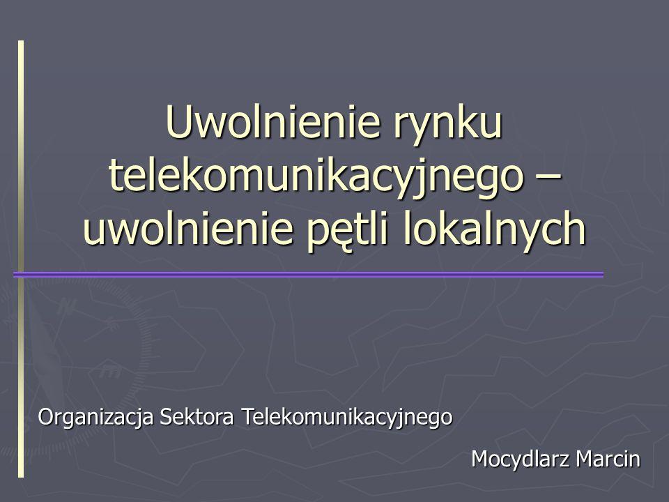 Uwolnienie rynku telekomunikacyjnego - uwolnienie pętli lokalnych2 Plan Rynek usług telekomunikacyjnych Rynek usług telekomunikacyjnych Uwolnienie pętli lokalnych Uwolnienie pętli lokalnych Dostęp pełny Dostęp pełny Dostęp współdzielony Dostęp współdzielony Ograniczenia Ograniczenia Etapy współpracy międzyoperatorskiej Etapy współpracy międzyoperatorskiej Rozliczenia międzyoperatorskie Rozliczenia międzyoperatorskie