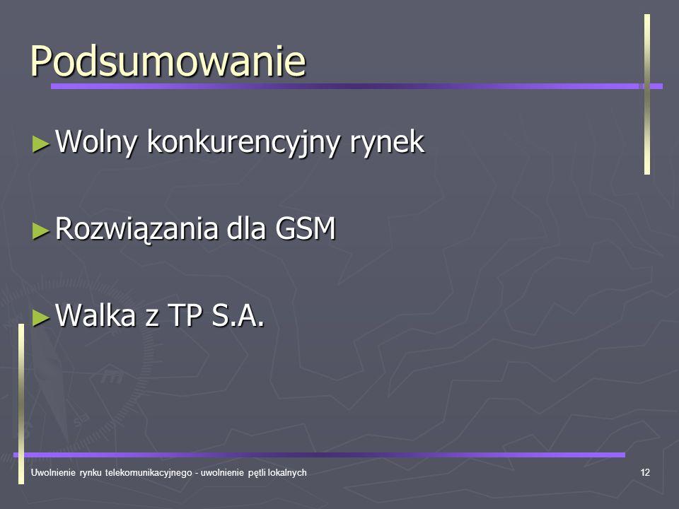 Uwolnienie rynku telekomunikacyjnego - uwolnienie pętli lokalnych12 Podsumowanie Wolny konkurencyjny rynek Wolny konkurencyjny rynek Rozwiązania dla G