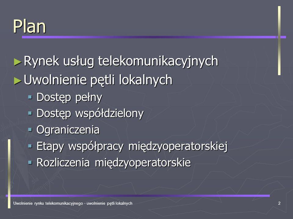 Uwolnienie rynku telekomunikacyjnego - uwolnienie pętli lokalnych3 Przemiany… dlaczego.