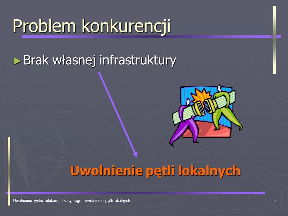 Uwolnienie rynku telekomunikacyjnego - uwolnienie pętli lokalnych6 Uwolnienie lokalnych pętli Końcowe linie abonenckie Końcowe linie abonenckie Niewykorzystywane odcinki magistralowe Niewykorzystywane odcinki magistralowe Niewykorzystywane odcinki rozdzielcze Niewykorzystywane odcinki rozdzielcze