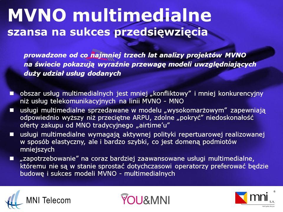 MVNO multimedialne szansa na sukces przedsięwzięcia obszar usług multimedialnych jest mniej konfliktowy i mniej konkurencyjny niż usług telekomunikacyjnych na linii MVNO - MNO usługi multimedialne sprzedawane w modelu wysokomarżowym zapewniają odpowiednio wyższy niż przeciętne ARPU, zdolne pokryć niedoskonałość oferty zakupu od MNO tradycyjnego airtimeu usługi multimedialne wymagają aktywnej polityki repertuarowej realizowanej w sposób elastyczny, ale i bardzo szybki, co jest domeną podmiotów mniejszych zapotrzebowanie na coraz bardziej zaawansowane usługi multimedialne, któremu nie są w stanie sprostać dotychczasowi operatorzy preferować będzie budowę i sukces modeli MVNO - multimedialnych prowadzone od co najmniej trzech lat analizy projektów MVNO na świecie pokazują wyraźnie przewagę modeli uwzględniających duży udział usług dodanych