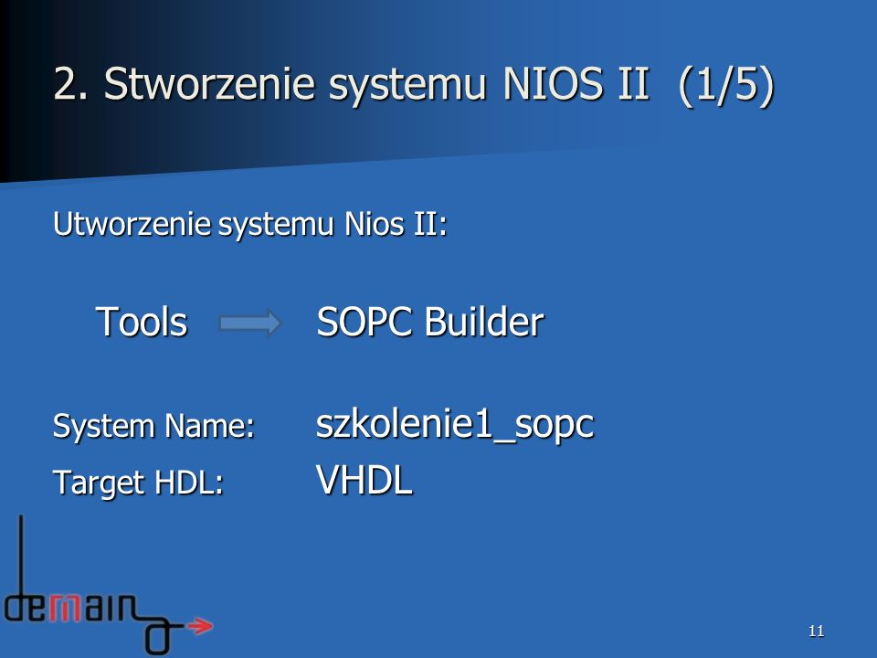 Utworzenie systemu Nios II: Tools SOPC Builder Tools SOPC Builder System Name: szkolenie1_sopc Target HDL: VHDL 11 2. Stworzenie systemu NIOS II (1/5)
