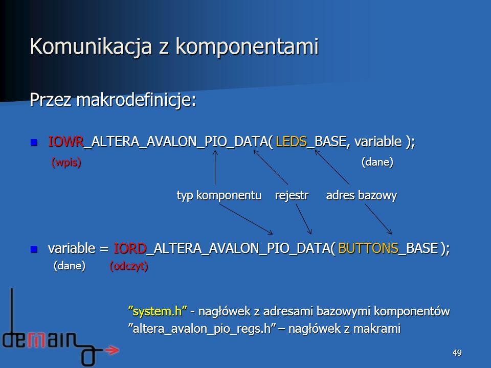 49 Przez makrodefinicje: IOWR_ALTERA_AVALON_PIO_DATA( LEDS_BASE, variable ); IOWR_ALTERA_AVALON_PIO_DATA( LEDS_BASE, variable ); (wpis) (dane) (wpis)