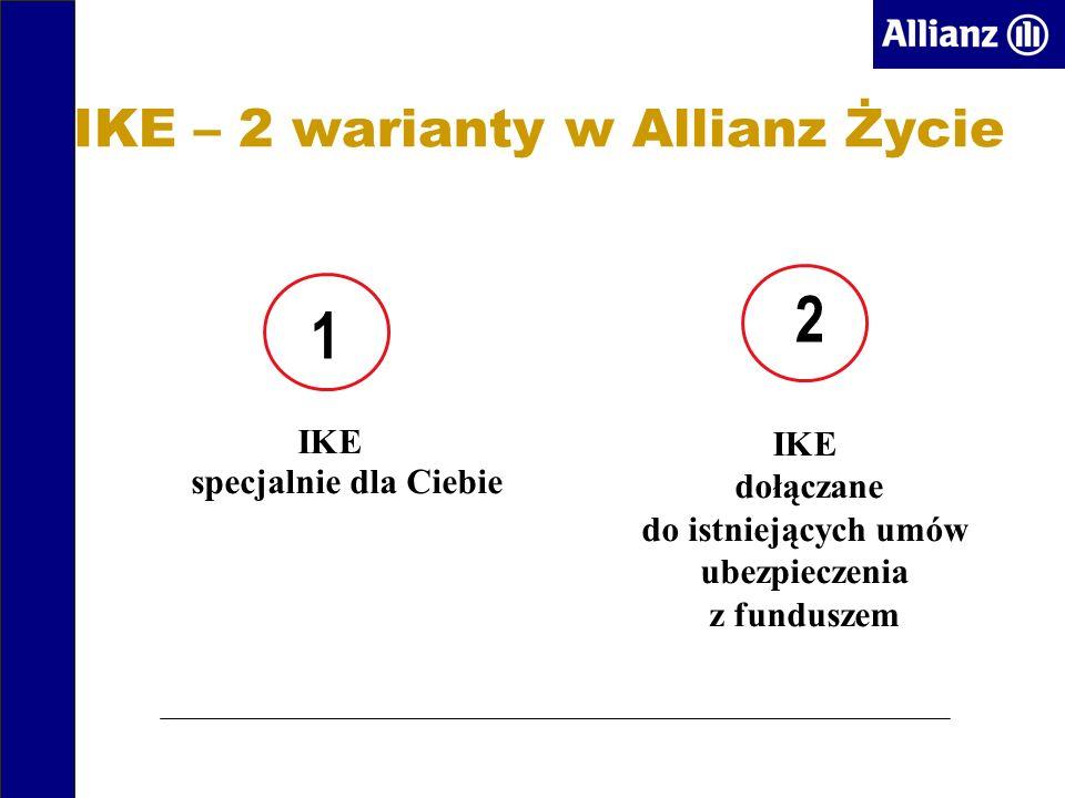 IKE – 2 warianty w Allianz Życie IKE specjalnie dla Ciebie IKE dołączane do istniejących umów ubezpieczenia z funduszem 1 2
