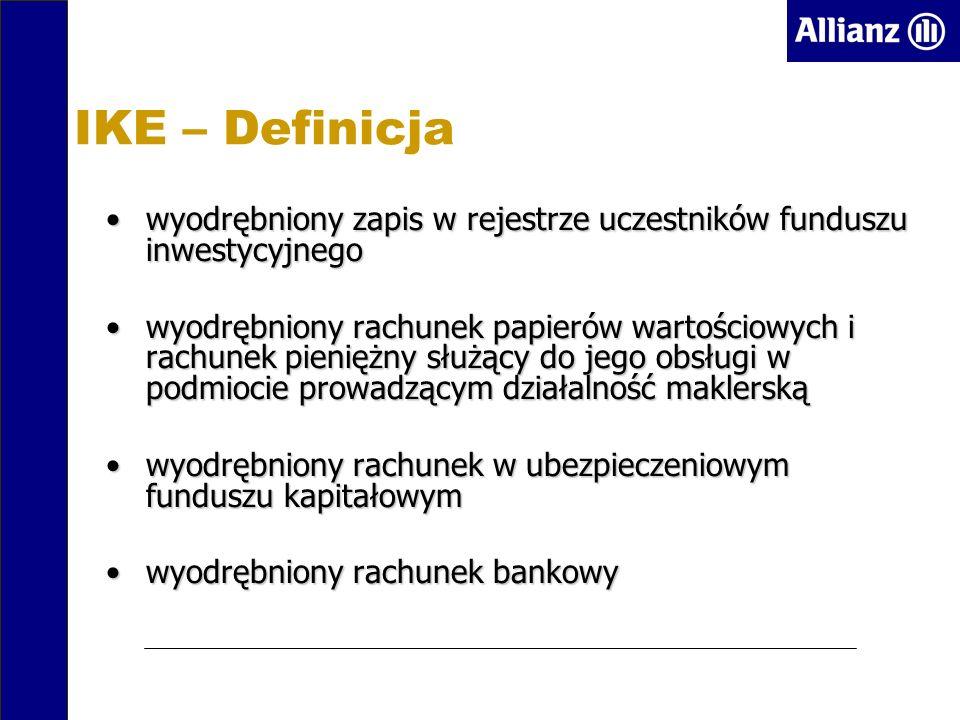 IKE – Definicja wyodrębniony zapis w rejestrze uczestników funduszu inwestycyjnegowyodrębniony zapis w rejestrze uczestników funduszu inwestycyjnego wyodrębniony rachunek papierów wartościowych i rachunek pieniężny służący do jego obsługi w podmiocie prowadzącym działalność maklerskąwyodrębniony rachunek papierów wartościowych i rachunek pieniężny służący do jego obsługi w podmiocie prowadzącym działalność maklerską wyodrębniony rachunek w ubezpieczeniowym funduszu kapitałowymwyodrębniony rachunek w ubezpieczeniowym funduszu kapitałowym wyodrębniony rachunek bankowywyodrębniony rachunek bankowy