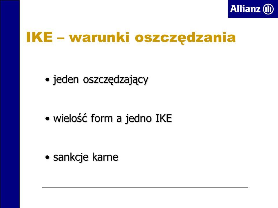 IKE – warunki oszczędzania jeden oszczędzający jeden oszczędzający wielość form a jedno IKE wielość form a jedno IKE sankcje karne sankcje karne