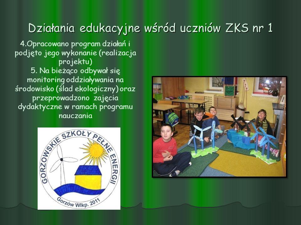 Działania edukacyjne wśród uczniów ZKS nr 1 4.Opracowano program działań i podjęto jego wykonanie (realizacja projektu) 5. Na bieżąco odbywał się moni