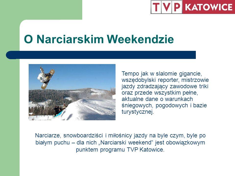 O Narciarskim Weekendzie Tempo jak w slalomie gigancie, wszędobylski reporter, mistrzowie jazdy zdradzający zawodowe triki oraz przede wszystkim pełne, aktualne dane o warunkach śniegowych, pogodowych i bazie turystycznej.