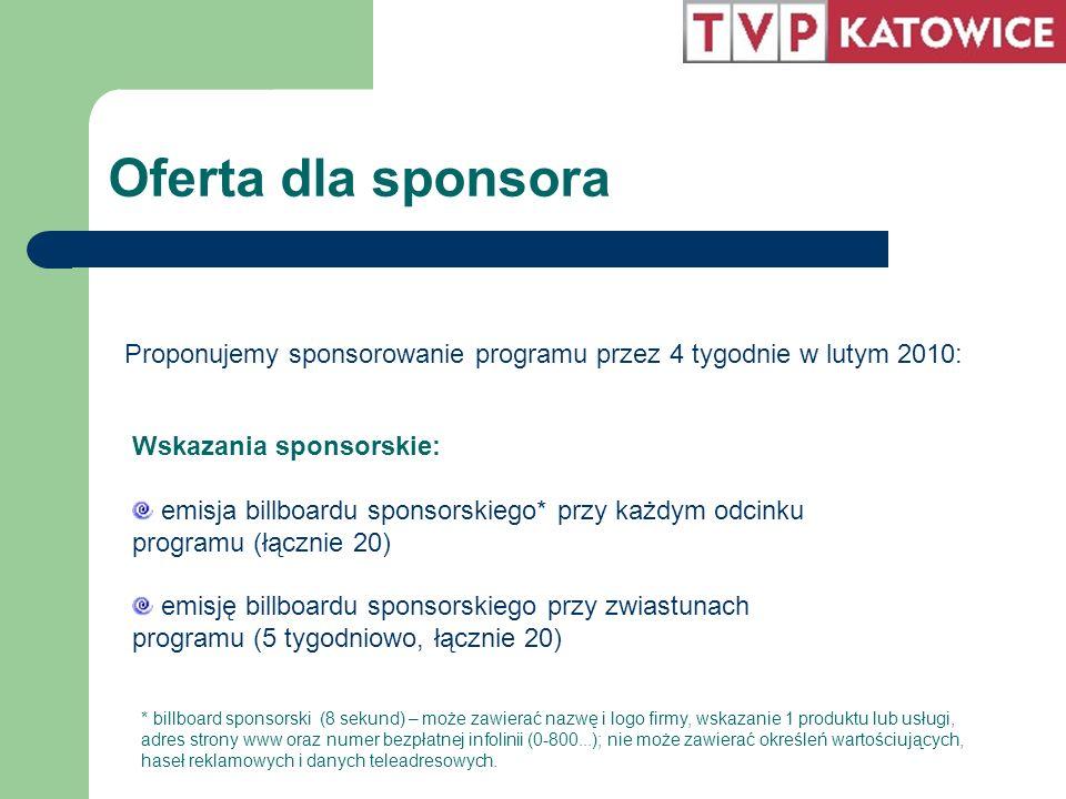Oferta dla sponsora Wskazania sponsorskie: emisja billboardu sponsorskiego* przy każdym odcinku programu (łącznie 20) emisję billboardu sponsorskiego przy zwiastunach programu (5 tygodniowo, łącznie 20) Proponujemy sponsorowanie programu przez 4 tygodnie w lutym 2010: * billboard sponsorski (8 sekund) – może zawierać nazwę i logo firmy, wskazanie 1 produktu lub usługi, adres strony www oraz numer bezpłatnej infolinii (0-800...); nie może zawierać określeń wartościujących, haseł reklamowych i danych teleadresowych.