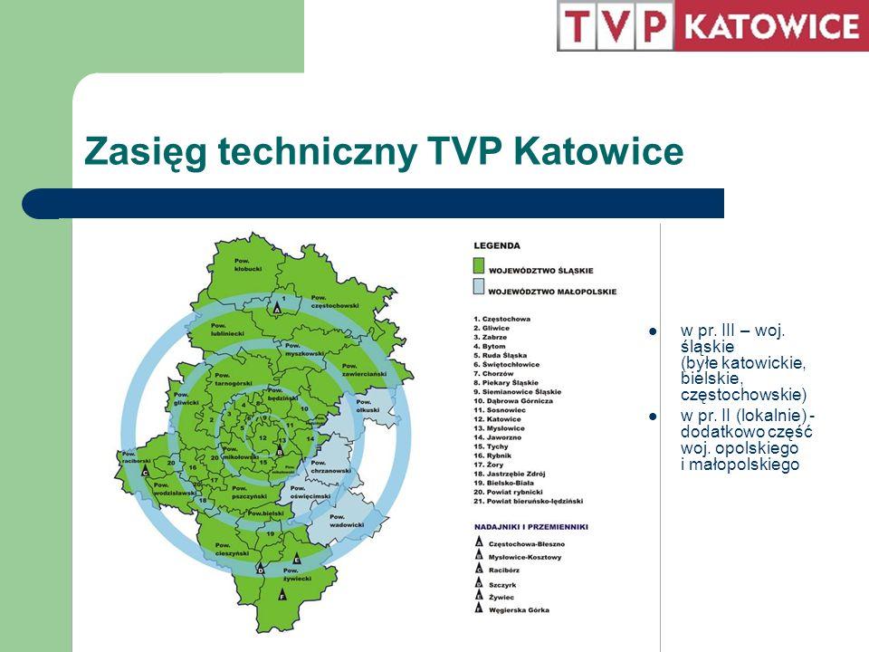 Zasięg techniczny TVP Katowice w pr. III – woj. śląskie (byłe katowickie, bielskie, częstochowskie) w pr. II (lokalnie) - dodatkowo część woj. opolski