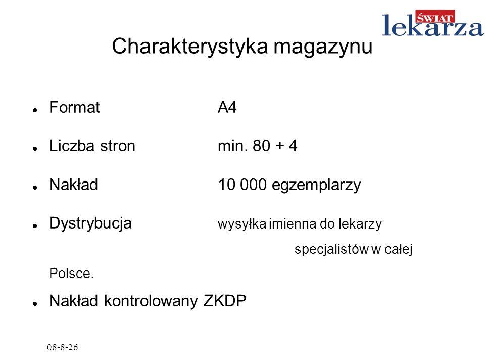 Charakterystyka magazynu Format A4 Liczba stronmin. 80 + 4 Nakład 10 000 egzemplarzy Dystrybucja wysyłka imienna do lekarzy specjalistów w całej Polsc