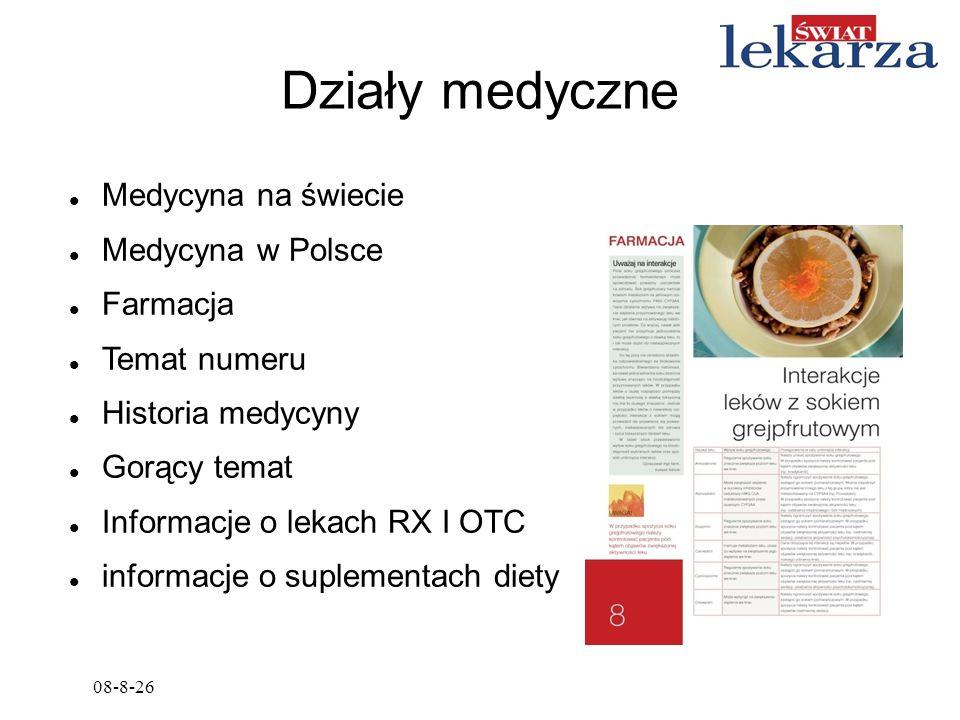 08-8-26 Działy medyczne Medycyna na świecie Medycyna w Polsce Farmacja Temat numeru Historia medycyny Gorący temat Informacje o lekach RX I OTC inform