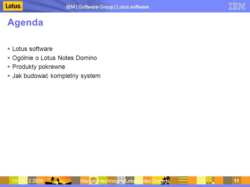 IBM | Software Group | Lotus software 10-11.12.2009Warsztat techniczny Lotus Notes Domino11 Agenda Lotus software Ogólnie o Lotus Notes Domino Produkt