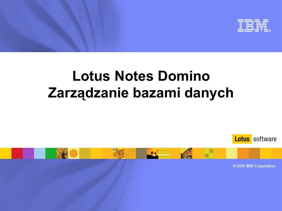 ® © 2009 IBM Corporation Lotus Notes Domino Zarządzanie bazami danych