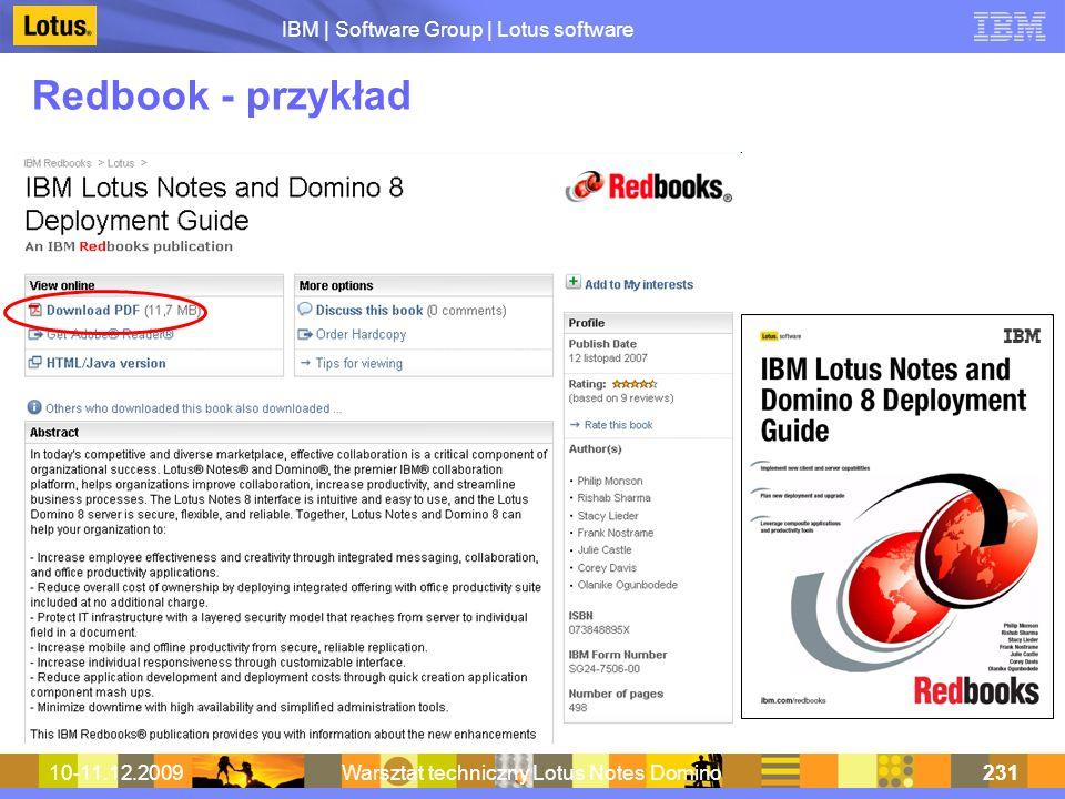 IBM | Software Group | Lotus software 10-11.12.2009Warsztat techniczny Lotus Notes Domino231 Redbook - przykład
